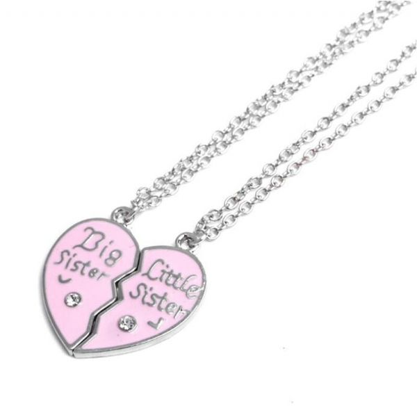 Big Sister Little Sister heart necklace